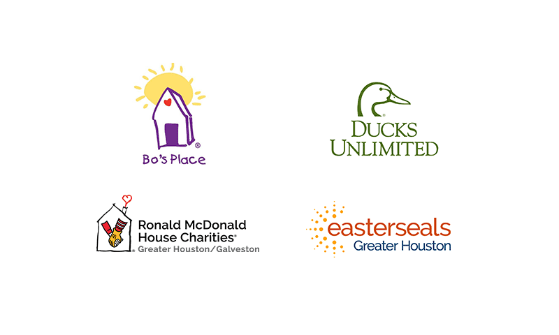 Bo's Place, Ducks Unlimited, Ronald McDonald House Charities, Easter Seals Greater Houston logo